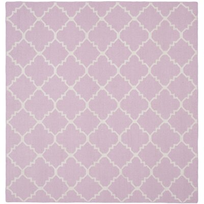 Pink/Ivory Area Rug Rug Size: Square 6