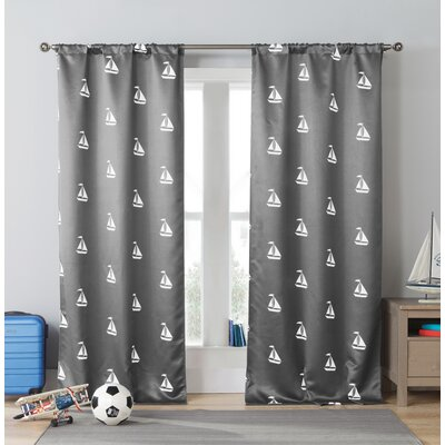 Sailboat Nautical Blackout Thermal Rod Pocket Curtain Panels Color: Gray/White