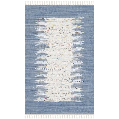 Static Hand-woven Blue/Ivory Area Rug Rug Size: Rectangle 26 x 4