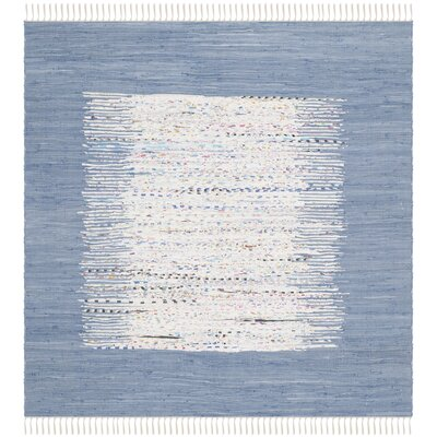 Static Hand-woven Blue/Ivory Area Rug Rug Size: Square 4