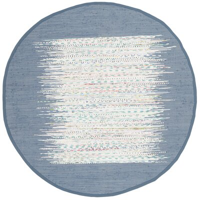 Static Hand-woven Blue/Ivory Area Rug Rug Size: Round 4