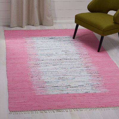 Static Hand-Woven Wool Pink/White Area Rug Rug Size: Rectangle 4 x 6