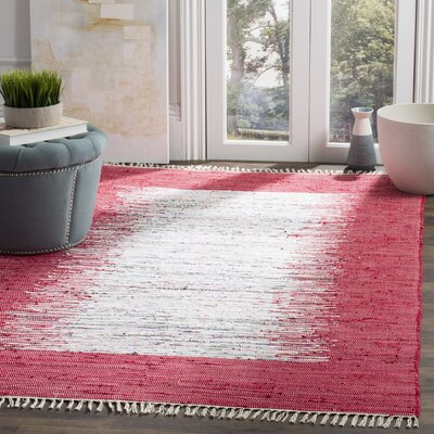Static Hand-Woven Cotton Red Area Rug Rug Size: Rectangle 3 x 5