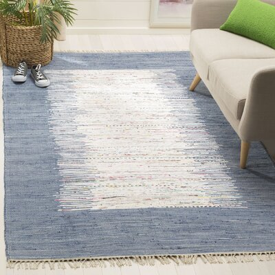 Static Hand-woven Blue/Ivory Area Rug Rug Size: Rectangle 6 x 9