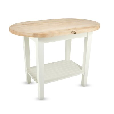 Eliptical C-Table Prep Table with Butcher Block Top Base Finish: Useful gray stain, Number of Shelves: None
