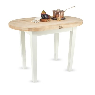 Eliptical C-Table Prep Table with Butcher Block Top Base Finish: Alabaster, Number of Shelves: None