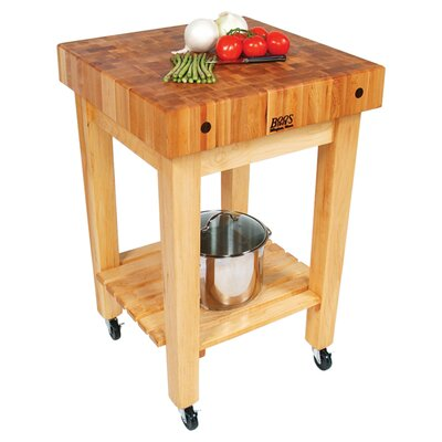 BoosBlock Prep Table with Butcher Block Top Casters: Included