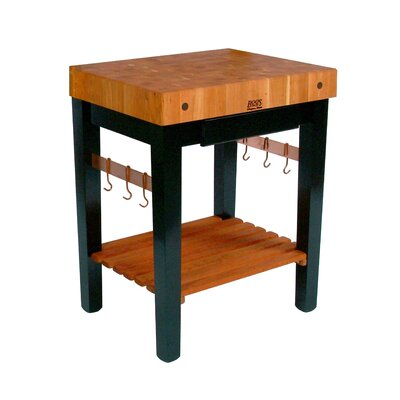 Rouge et Noir Prep Table with Butcher Block Top Size: 30 W x 24 D, Drawers: 1 Included, Casters: Included