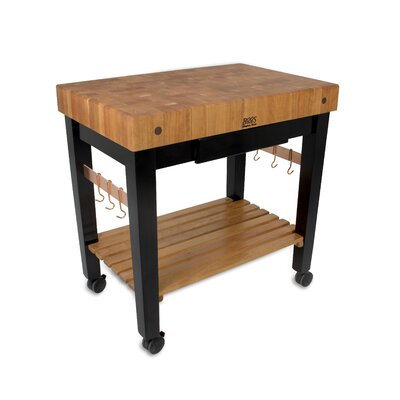 Rouge et Noir Prep Table with Butcher Block Top Size: 36 W x 24 D, Drawers: 1 Included, Casters: Included