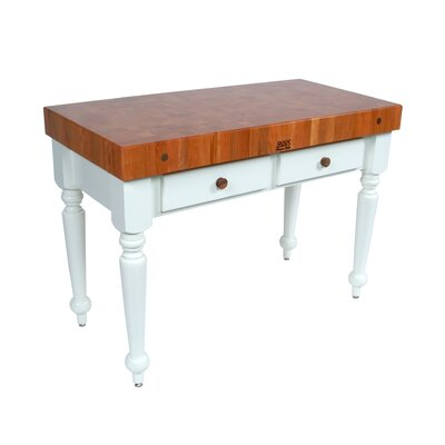 American Heritage Prep Table with Butcher Block Top Size / Shelves: 30 W x 24 D / Not Included