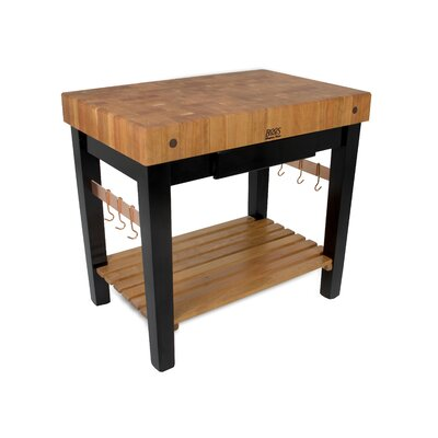 Rouge et Noir Prep Table with Butcher Block Top Size: 36 W x 24 D, Drawers: 1 Included, Casters: Not Included