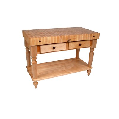 American Heritage Prep Table with Butcher Block Top Shelves: 1 Included, Finish: Natural Maple