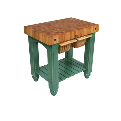 American Heritage Prep Table with Butcher Block Top Base Finish: Basil Green