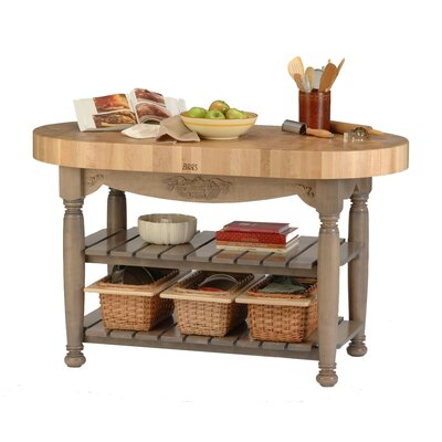 American Heritage Prep Table with Butcher Block Top Base Finish: Useful Gray