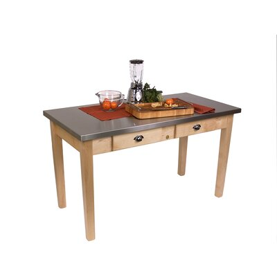 Cucina Americana Prep Table with Stainless Steel Top Size: 48 W x 24 D x 36 H