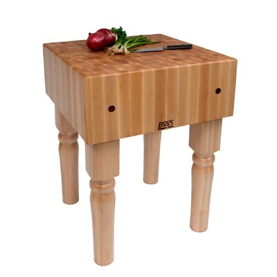 BoosBlock Butcher Block Prep Table Size: 18 W x 18 D