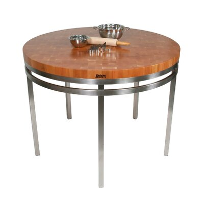 Metropolitan Designer Prep Table with Wood Top Lazy Susan: Not Included