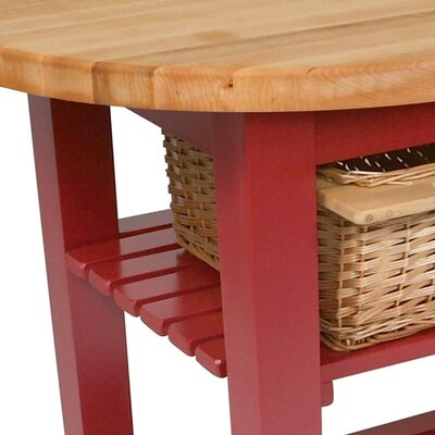 Eliptical C-Table Prep Table with Butcher Block Top Base Finish: Barn red, Number of Shelves: Two