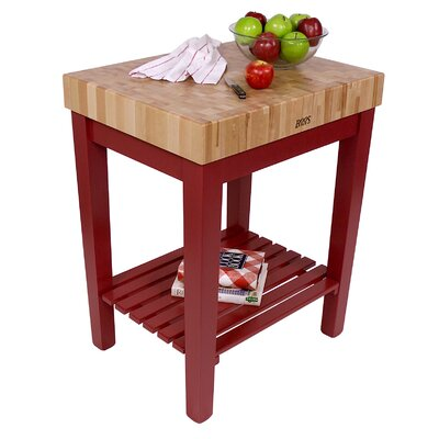 American Heritage Prep Table with Butcher Block Top Base Finish: Barn Red, Shelves: Not Included