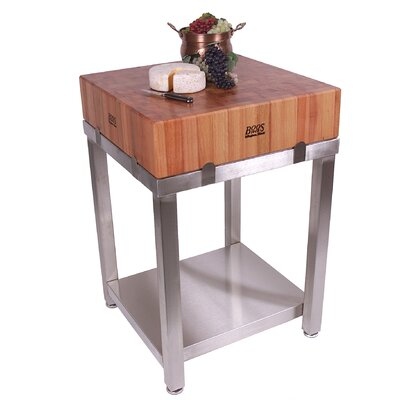 Cucina Americana Laforza Prep Table with Butcher Block Top