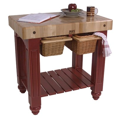 American Heritage Prep Table with Butcher Block Top Base Finish: Alabaster White