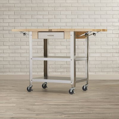 Cucina Americana Kitchen Cart with Wood Top Drop Leaves: 2 Included