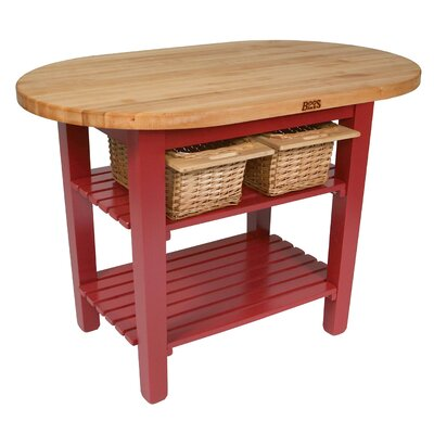 Eliptical C-Table Kitchen Island with Butcher Block Top Base Finish: Barn red, Shelves: 1 Included