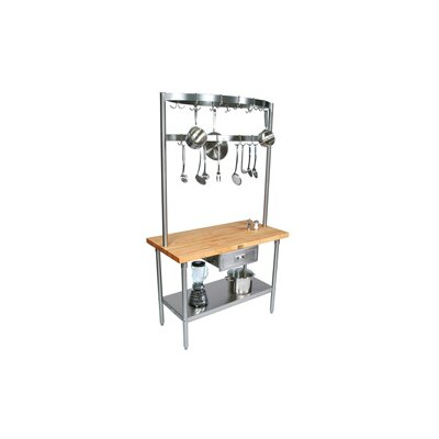 Cucina Americana Prep Table with Wood Top Size: 48 W x 24 D, Casters: Included
