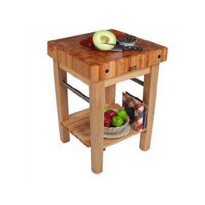 BoosBlock Butcher Block Prep Table Table Size: 30 W x 30 D, Drawers: 1 Included, Casters: Included