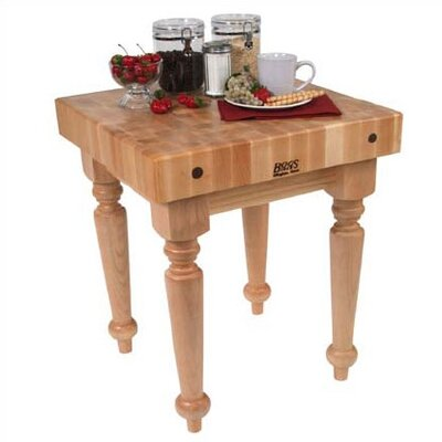 BoosBlock Butcher Block Prep Table Size: 30 W x 24 D, Casters: Not Included