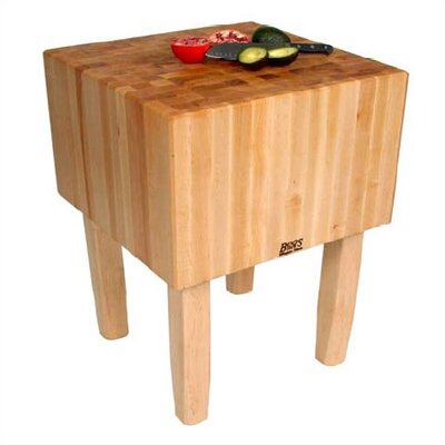 BoosBlock Prep Table with Butcher Block Top Size: 24 W x 18 D, Leg Material: Wood