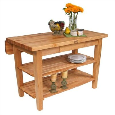 BoosBlock Prep Table Size: 48 W x 38 D, Base Finish: Warm Cherry Stain