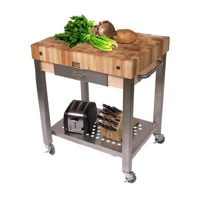 Cucina Americana Kitchen Cart with Wood Top Counter Top Height: 4, Drawers: 1 Included