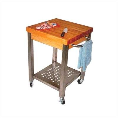 Cucina Americana Kitchen Cart with Butcher Block Top Counter Top Depth: 2.25