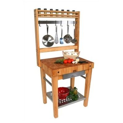 Cucina Americana Prep Table with Butcher Block Top