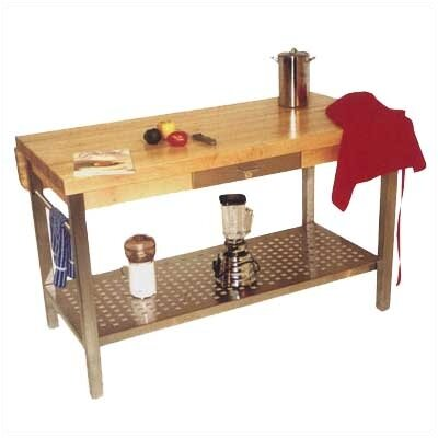 Cucina Grande Prep Table with Butcher Block Top Size / Drop Leaves: 60 W x 28 D / Not Included, Casters: Included, Pot Rack: 48 H x 60 W