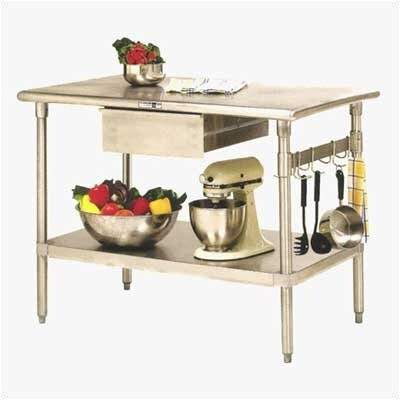 Cucina Americana Prep Table Size: 48 inch W x 30 inch D, Casters: Included, Number of Hooks: None
