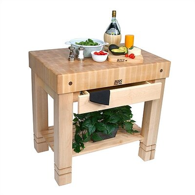 American Heritage Prep Table with Butcher Block Top Finish: Cream