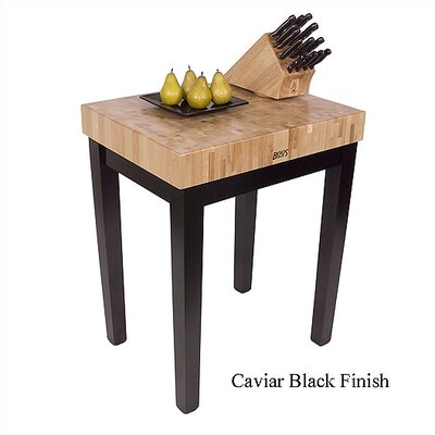American Heritage Prep Table with Butcher Block Top Shelves: Not Included, Base Finish: Caviar Black
