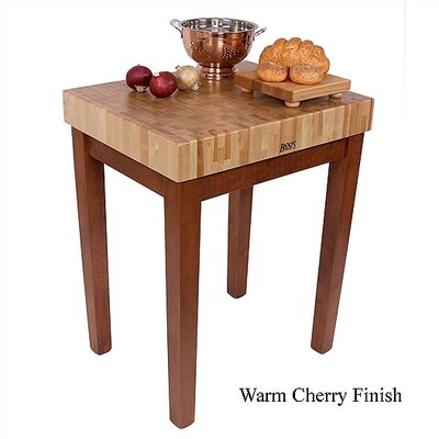 American Heritage Prep Table with Butcher Block Top Shelves: Not Included, Base Finish: Warm Cherry