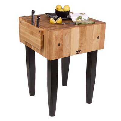Butcher Block Size: 24 W x 24 D, Base Finish: Black