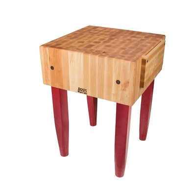 Butcher Block Size: 24 W x 18 D, Base Finish: Red