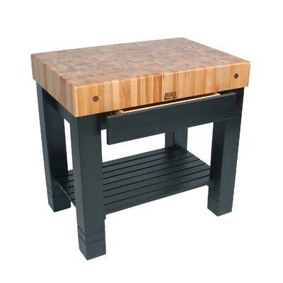 American Heritage Prep Table with Butcher Block Top Finish: Caviar Black