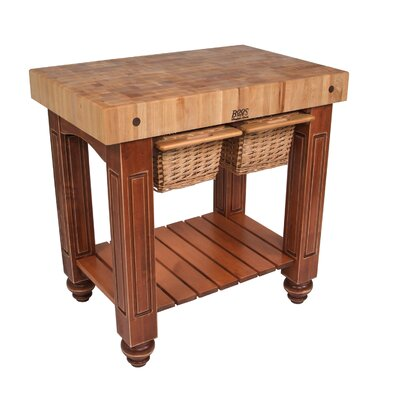 American Heritage Prep Table with Butcher Block Top Base Finish: Warm Cherry