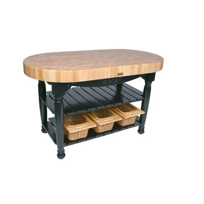 American Heritage Prep Table with Butcher Block Top Base Finish: Caviar Black
