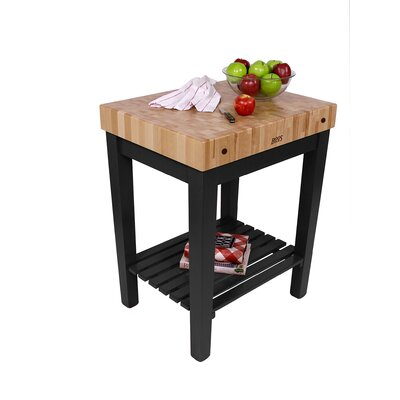 American Heritage Prep Table with Butcher Block Top Base Finish: Caviar Black, Shelves: 1 Included
