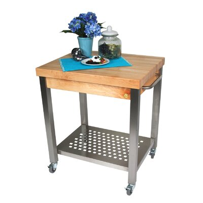 Cucina Americana Kitchen Cart with Wood Top Counter Top Height: 2.25, Drawers: Not Included