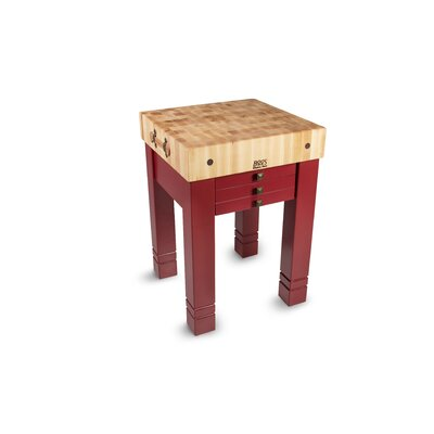 American Heritage Prep Table with Butcher Block Top Base Finish: Barn Red