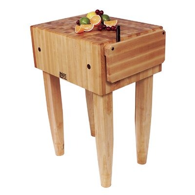 Pro Chef Butcher Block Prep Table Casters: Included, Size: 24 W x 18 D