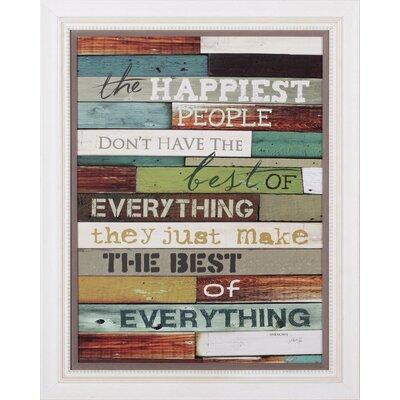 Happiest People Marla Rae Framed Textual Art Plaque